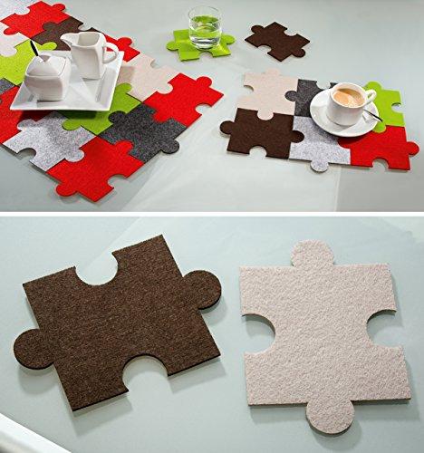 Posavasos de Puzzle, 6 piezas 3 marrón 3 beige, lavable, OSS, Gilde Handwerk