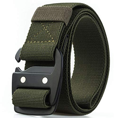 WYuZe Tactical Mens Belt Military Elastic Stretch Duty Nylon Belt with Quick-Release Metal Buckle…