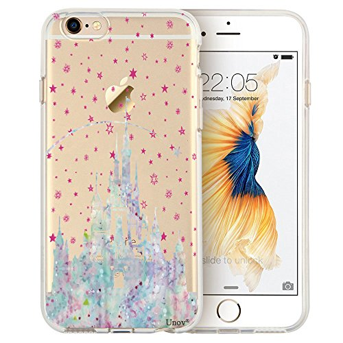 Unov iPhone 6s Plus Case Clear with Design Soft TPU Bumper Shock Absorption Slim Embossed Pattern Protective Case for iPhone 6s Plus iPhone 6 Plus 5.5 inch (Watercolor Castle)