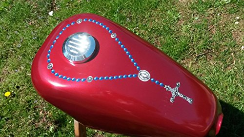 East Coast Vinyl Werkz Rosary/Cross - (Blue Beads) decal sticker for Harley Davidson Sportster Yamaha Chopper gas tank - fits around gas cap - Also for car & truck windows