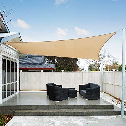 AXT SHADE Toldo Vela de Sombra Rectangular 2 x 4 m, protección Rayos UV Impermeable para Patio, Exteriores, Jardín, Color Arena