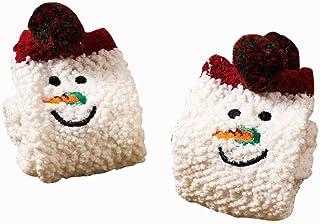 Jingyunstore, 1 par de Calcetines Bonitos de Otoño Invierno para Mujer, Calcetines Suaves y cálidos, Calcetines Suaves y cómodos clásicos, muñeco de Nieve