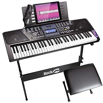 RockJam 61 Key Keyboard Piano With LCD Display Kit Keyboard Stand Piano Bench Headphones Simply Piano App & Keynote Stickers
