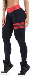 Jinqiuyuan High Waist Yoga Leggings Women Fitness Clothing Training Pants Trousers Female Push Up Mesh Leggings Sport Femme 3 Color (Color : Red, Size : L)