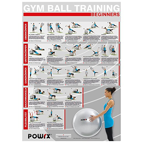 Gymnastikball - Workout Übungsposter DIN A1 Beginner Training Poster