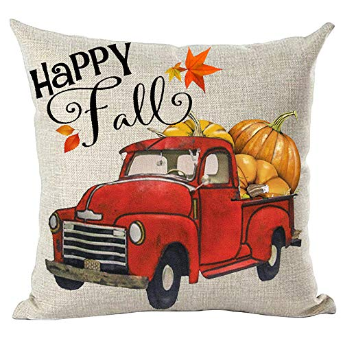 ramirar Watercolor Retro Red Pickup Truck Orange Maple Leaves Pumpkins Happy Fall Y'all Decorative Throw Pillow Cover Case Cushion Home Living Room Bed Sofa Car Cotton Linen Square 18 x 18 Inches