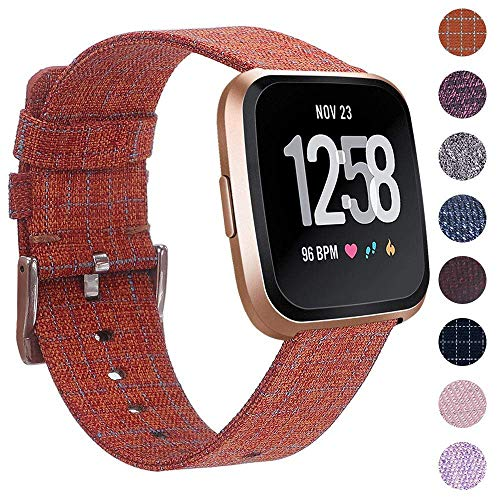 EZCO Compatible Fitbit Versa Bands, Woven Fabric Breathable Watch Strap Quick Release Replacement Wristband Accessories Compatible Fitbit Versa Smart Watch Women Man, Orange Plaid
