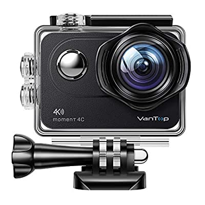VanTop Moment 4C 4K/60FPS Action Camera with EIS, Sony Sensor, Timer, Burst, Loop Recording, Time Lapse, Wi-Fi, 30M Waterproof Underwater Camera w/Gopro Compatible Accessories, 2 Batteries from VanTop