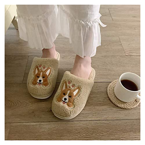 Zapatos caseros zapatillas de interior Lindas de dibujos animados corgi interior zapatillas for mujer for mujeres invierno mantener cálido lujos de felpa beige terciopelo chicas zapatillas borrosas me