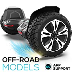 Off road & all terrain hoverboard- 8.5 inch solid off-road tire hitting speed for up to 7.5-9.5 miles, powered by 350w motor with high enery battery,You will feel safe no matter what sort of road you are on. Music speaker & Two modes- Connect to the ...