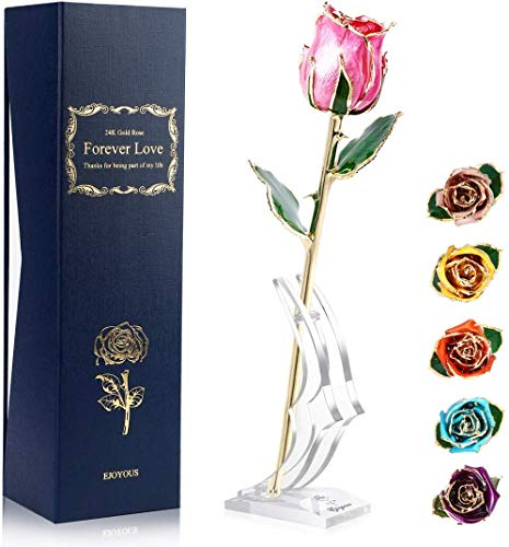 24K Gold Rose Pink with Stand Fresh Rose Dipped in 24 Karat Gold, Natural Shape Rose Flower Gift for Her on Birthday Wedding Anniversary Graduation Housewarming Apology or Thankfulness, Pink