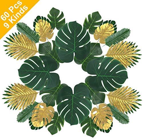 shangji Künstliche Tropische Palmblätter Monstera Geht Hawaiianer Luau Partydekorationen Mit Stielen Für Safari-Dekorationen Tropische Partyzubehör Jungle Beach Theme Supplies