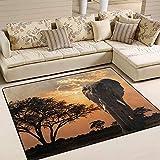 HJKGSX Alfombra De Salón Elefante Africano Alfombra Pelo Corto Antideslizante Dormitorio Cuarto de los niños Fácil de Manejar 60 x 90 cm