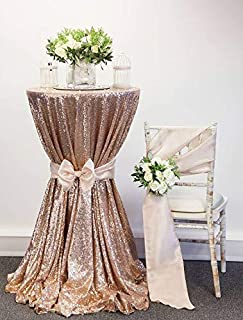Sequin Tablecloth Glitter Fabric Sparkly Shimmer 90-Inch Champagne Blush Round Luxury Decoration Overlays Tablecloth For Wedding Ceremony Birthday