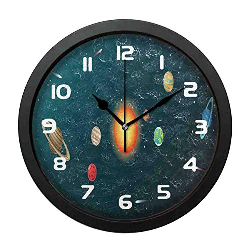 SanJIUCOM Wall Clock Solar System Planet Mute with Frame Clock for Bedroom Living Room Home Office Decor