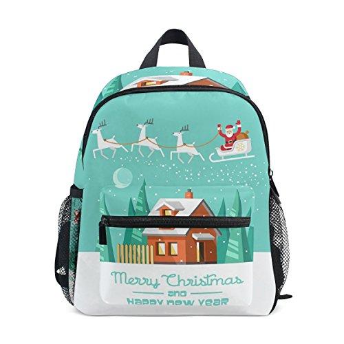 COOSUN Weihnachtsmann auf Schlitten Mini Kinderrucksack Pre-School Kindergarten Kleinkind-Tasche Mehrfarbig