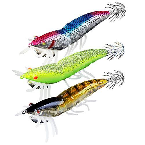 Eovymovy Noctilucentes Pesca Camarones Señuelo,3pcs 12cm Pesca Calamar Camarones Señuelo Cebo,Cebos de Calamar para Pesca,Señuelos Pesca Calamar
