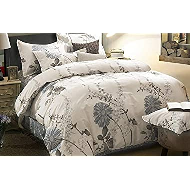 Wake In Cloud - Duvet Cover Set, 100% Cotton Bedding, Botanical Floral Flowers Pattern Printed, with Zipper Closure (3pcs, King Size)