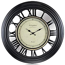 Westzytturm Large Wall Clock 20 inches Contemporary Modern Wall Clocks Roman Numeral Non Ticking Silent Round Clock 3D Mirror Big Face Clocks for Living Room Decor Bedrooms Home Kitchen Office Black