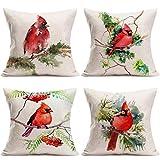 Hopyeer 4Pcs Cute Birds Throw Pillow Covers Watercolor Cardinal Birds Sitting on The Green Trees Branch Design Cotton Linen Pillowcase Animals Home Sofa Chair Decor Cushion Case 18x18Inch(CB-Birds)