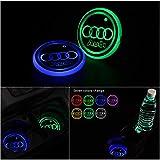 Gabriel Versión mejorada de la luz del portavasos LED, posavasos, 7 colores, carga USB, 2 piezas (adecuado para A-udi)