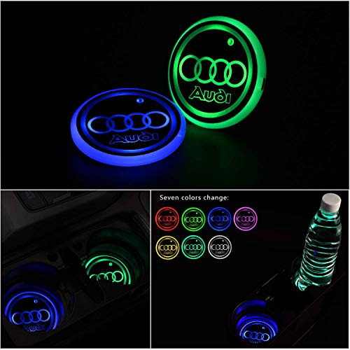 Verbesserte LED Getränkehalter Auto Untersetzer Lichter, Logo Cup Halter Matte Pad Wasserdicht, innenbeleuchtung Auto Atmosphäre Lampe Dekoration Licht, 7 Farben, USB-Aufladung, 2pcs(fit A-UDI)