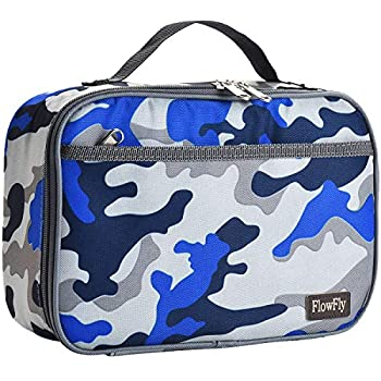 FlowFly Kids Lunch box Insulated Soft Bag Mini Cooler Thermal Meal Tote Kit with Handle and Pocket for Girls Boys Blue Camo