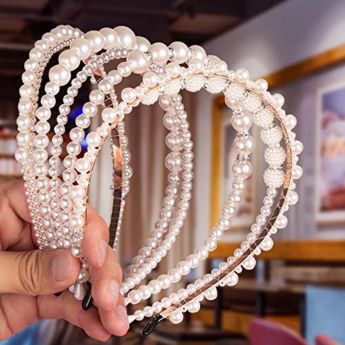 6 Stück Haarreifen mit Perlen für Frauen und Mädchen, Comius Sharp Elegant Weiße Kunstperle Stirnband, Kopfschmuck Haarbänder Haarschmuck für Hochzeit, Geburtstag, Party, Valentinstag, Geschenk