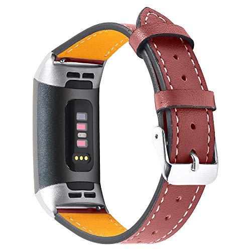 Jennyfly Charge 3/Charge 4 bandas para mujeres, repuesto de cuero genuino para reloj deportivo con hebilla de metal ajustable de 5.5 a 8 pulgadas, compatible con Fitbit Charge 3/Charge 4 - rojo