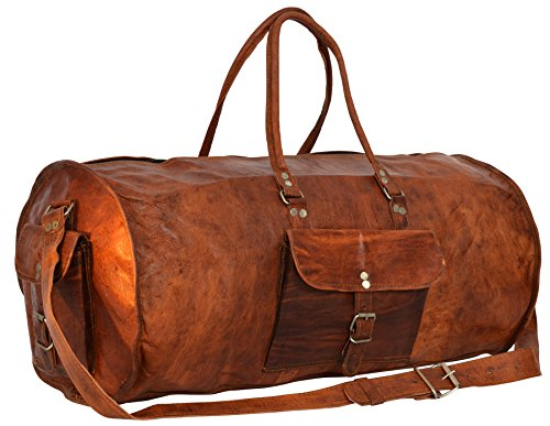 Gusti Leder nature'Archie' Genuine Leather Travel Luggage Sports Gym Bag Holdall Weekender Cylinder Duffle Bag Unisex R3