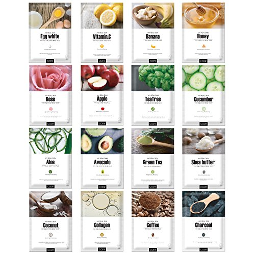 Green Grade Cupra Facial Sheet Masks(16 combo) Variety Pack Featuring 16 Different Hydrating Full Face Masks