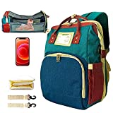 3 in 1 Travel Bassinet Diaper Bag Backpack for Baby Girl and Boy, Diaper Bag with Changing Station, Bed, Portable Crib, Mommy Bag Waterproof with USB Charging Port (Red&Blue&Green)