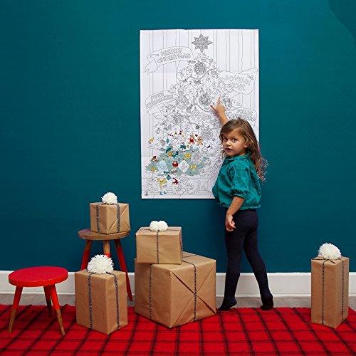 Grand Poster Sapin de Noël à colorier 100 x 70 cm avec Stickers fluorescents Qui Brillent dans Le Noir. Génial pour Une décoration Unique et familliale personnalisée de Noël.