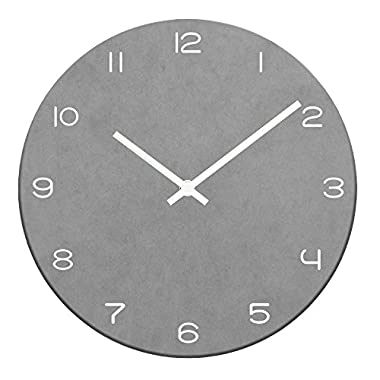 Timelike 10.24  Colorful MDF Wall Clock, Non-Ticking Slient Quartz Clock Decorative Simple Modern Wall Clock - 5MM Thickness (10.24 Inch, Light grey)