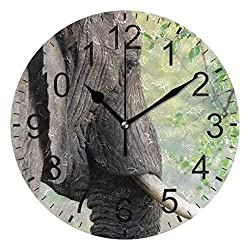 Promini Animal Elephant Jungle Wooden Wall Clock 15Inch Silent Battery Operated Non Ticking Wall Clock Vintage Wall Decor for Kitchen, Living Room, Bedroom, School, or Office