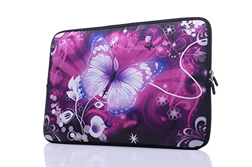 YIDA 13.3-Inch to 14-Inch Laptop Sleeve Case Neoprene Carrying Bag with Hidden Handles for MacBook/Notebook/Ultrabook/Chromebooks (Pink Butterfly)