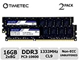Timetec Hynix IC DDR3 1333MHz PC3-10600 Unbuffered Non-ECC 1.5V CL9 2Rx8 Dual Rank 240 Pin (16GB(8GBx2))