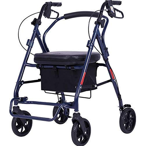 JALAL Rollator Walker für ältere Menschen, 4-Rad-Rollator mit Bremsen Rollator mit 19-cm-Radlaufrahmen mit Korb und gepolstertem Kissen
