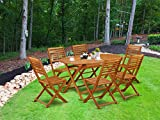 This 7 Pc Acacia Courtyard Dining Sets includes a single outdoor table and 6 foldable chairs