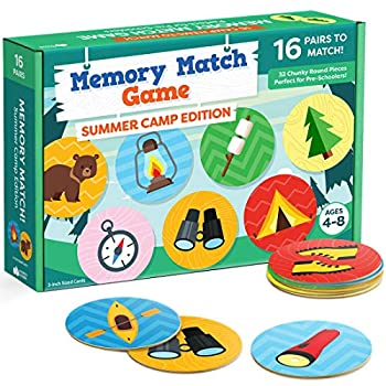 Matching Memory Game for Kids - 32pc Summer Camp Concentration Memory Card Games for Children - Preschool Toddler Memory Games for Kids 3-5 3 4 5 and Up - Boys and Girls