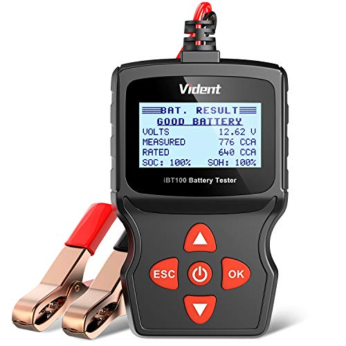 VIDENT Car Battery Tester IBT100 Automotive 100-1100CCA Battery Load Tester,12V Battery Analyzer for Flooded, AGM,Gel Car Tester Diagnostic Tool for Passenger Cars and Light Duty Trucks