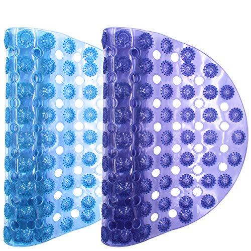YUESEN Alfombrilla de baño Alfombrilla de baño Ovalada Alfombra de baño Alfombra de Bañera Antideslizante Alfombrilla, Resistentes al Moho, Antibacterial, 38 * 69cm, Azul Transparente
