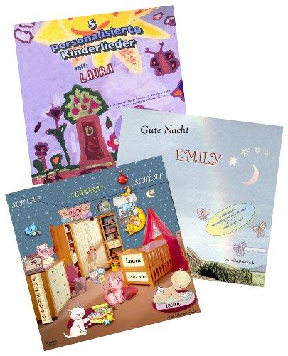 Personalisierte Geschenkbox (3 CDs) für Kinder/Babys - 5 Kinderlieder CD + Schlaflied CD + 3 Guten Nacht Geschichten CD - alle 3 CDs mit Wunschname ! - Jeder Vorname möglich !