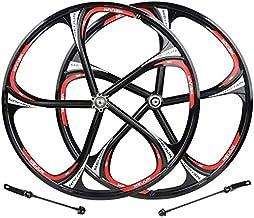 26 Pulgadas Llantas De Bicicleta Aleación De Magnesio Bicicleta Ruedas Llantas De Bicicleta De Carretera De 5 Hoyos V-Brake Impulsor De Eje Sólido Ruedas De Liberación Rápida 7-10 Velocidad, Negro
