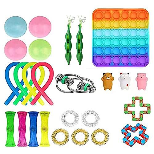 BoBoLily Juego de juguetes sensoriales para inquietos, anti estrés, juego de llavero, cubo de empuje de burbujas sensoriales juguetes de ventilación (26 unidades)