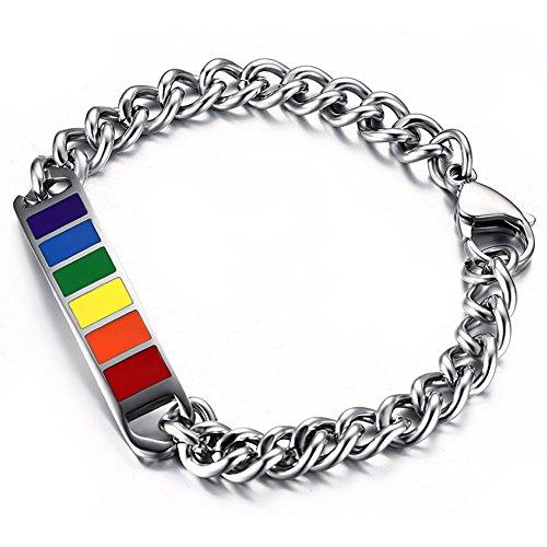 JewelryWe Schmuck Unisex Armband, Homosexuell LGBT Pride Schwerpunk Regenbogen Armreif, Gliderarmband mit Edelstahl Band, Silber Mehrfarbig