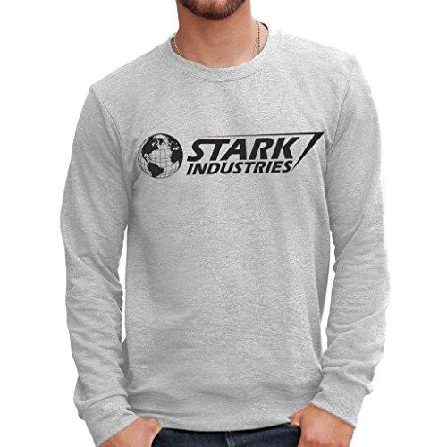 MUSH Felpa Girocollo Stark Industries Iron Man - Film by Dress Your Style - Uomo-M-Grigio Sport