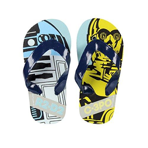 takestop® Infradito Star Wars Disney Blu Azzurro Giallo R2-D2 C-3PO Numero 30 Flip Flop Kinds Bambino Sandali Ciabatte Mare Fantasia