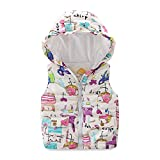 Mud Kingdom Girls Vest with Hood Cute Outerwear Animal Downward Size 6 White