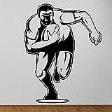 Tianpengyuanshuai Joueur de Rugby Art Mural Autocollant Dessin animé carré Rugby Sticker Mural 50X64 cm